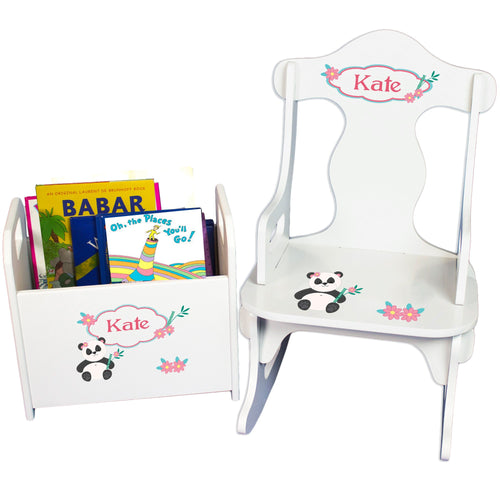 Personalized Panda Bear Book Caddy And Puzzle Rocker baby gift set