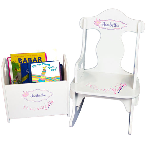 Personalized Fairy Princess Book Caddy And Puzzle Rocker baby gift set