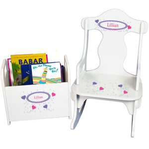 Personalized Heart Balloons Book Caddy And Puzzle Rocker baby gift set