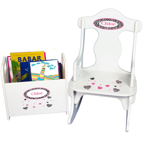 Personalized Groovy Zebra Book Caddy And Puzzle Rocker baby gift set