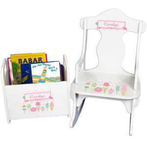 Personalized Puzzle Rocker And Book Caddy baby gift set With Sweet Treats Candy Design