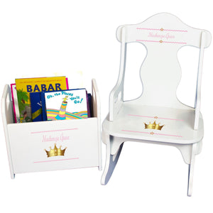 Personalized Pink Princess Crown Book Caddy And Puzzle Rocker baby gift set