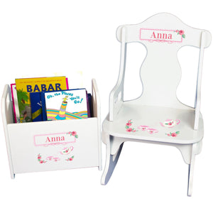 Personalized Tea Party Book Caddy And Puzzle Rocker baby gift set