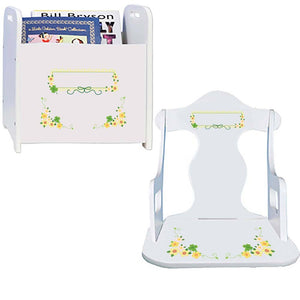 Personalized Puzzle Rocker And Book Caddy Irish baby gift set With Shamrock Design