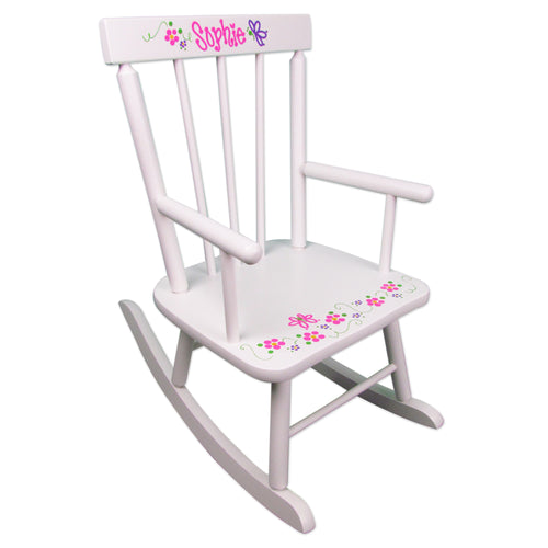 personalized white rocking chair
