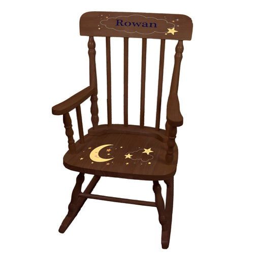 Personalized Celestial Moon Espresso Spindle rocking chair