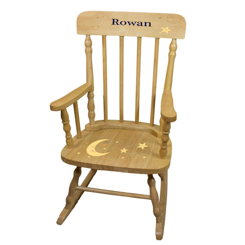 Personalized Celestial Moon Natural Spindle rocking chair