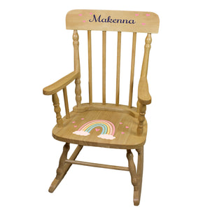 Personalized Boho Rainbow Natural Spindle rocking chair
