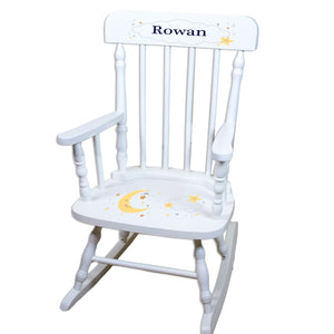 Personalized Celestial Moon White Spindle rocking chair