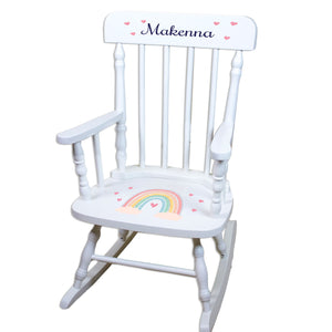 Personalized Boho Rainbow White Spindle rocking chair