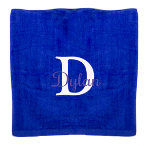 Personalized Beach Towel Blue Name Initial