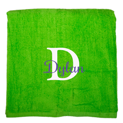 Personalized Beach Towel Green Name Initial