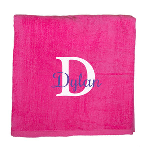 Personalized Beach Towel Pink Name Initial