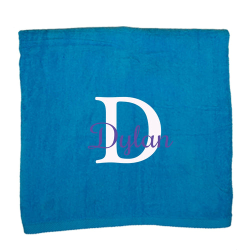 Personalized Beach Towel Turquois Name Initial