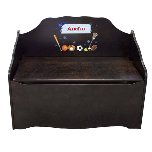 Personalized Sports Espresso Toy Chest