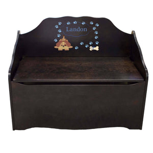 Personalized Blue Puppy Espresso Toy Chest