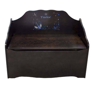 Personalized Blue Rock Star Espresso Toy Chest