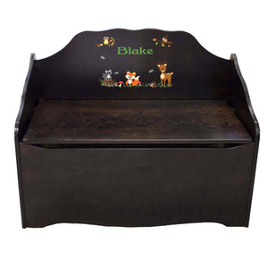 Personalized Green Forest Animal Espresso Toy Chest
