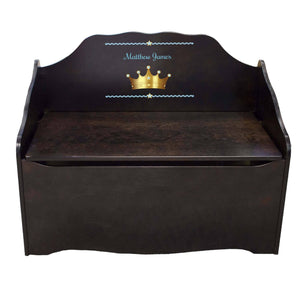 Personalized Prince Crown Blue Espresso Toy Chest