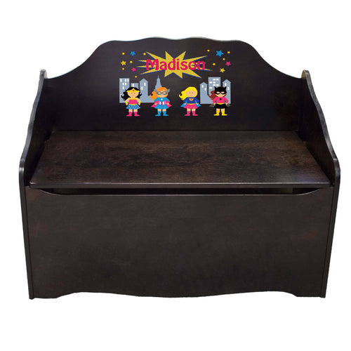 Personalized Super Girls Espresso Toy Chest