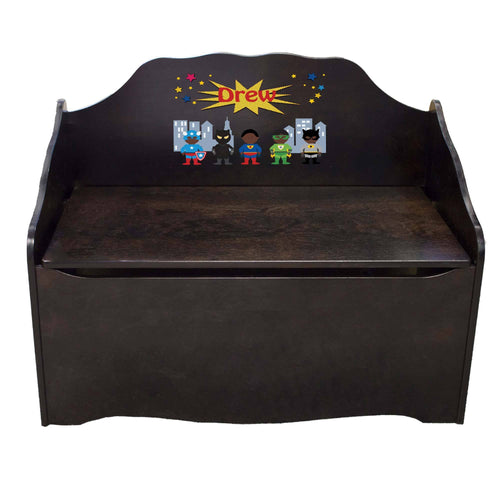 Personalized Superhero African American Boy Espresso Toy Chest