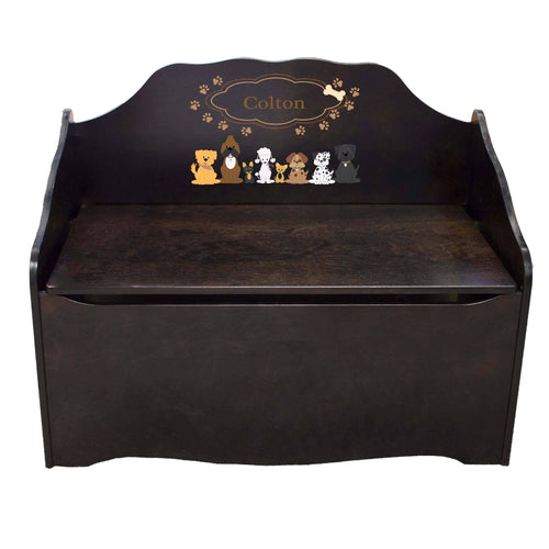 Personalized Brown Dogs Espresso Toy Chest