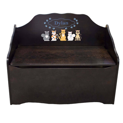 Personalized Blue Cats Espresso Toy Chest