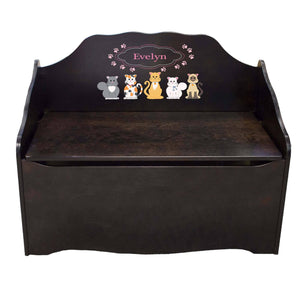 Personalized Pink Cats Espresso Toy Chest