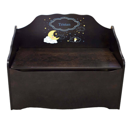 Personalized Moon and Stars Espresso Toy Chest
