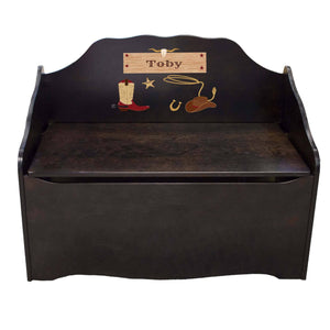 Personalized Wild West Espresso Toy Chest