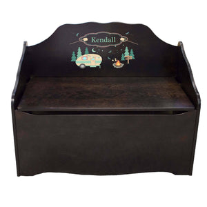 Personalized Camp Smores Espresso Toy Chest