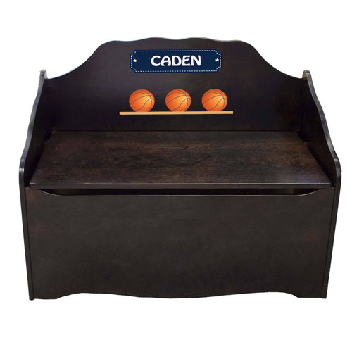Personalized Basketball Espresso Toy Chest