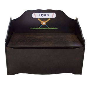 Personalized Baseball Espresso Toy Chest