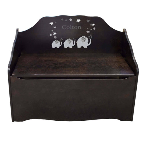 Personalized Gray Elephant Espresso Toy Chest