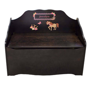 Personalized Ponies Prancing Espresso Toy Chest