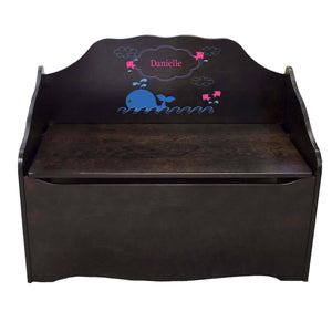 Personalized Pink Whale Espresso Toy Chest