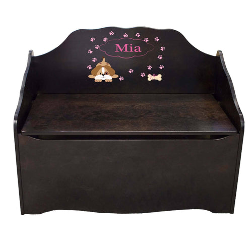 Personalized Pink Puppy Espresso Toy Chest