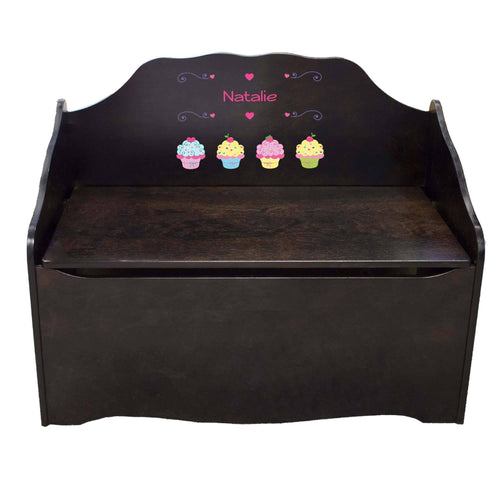 Personalized Cupcake Espresso Toy Chest