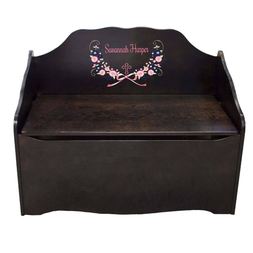Personalized Hc Navy Pink Floral Garland Espresso Toy Chest