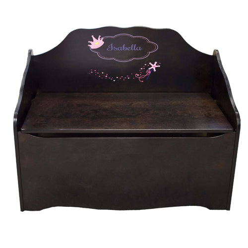 Personalized Fairy Princess Espresso Toy Chest