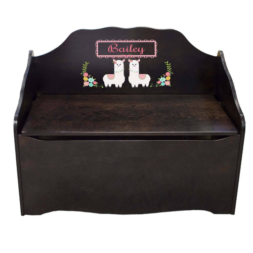 Personalized Alpaca Llama Espresso Toy Chest