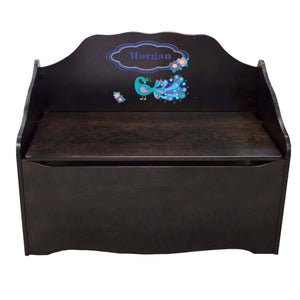 Personalized Peacock Espresso Toy Chest