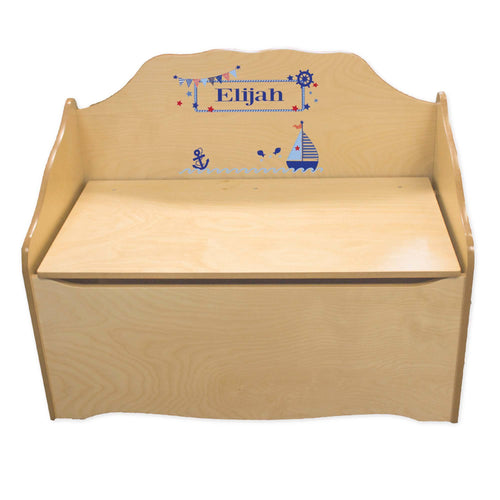 Personalized Boys Sailboat Natural Toy Chest