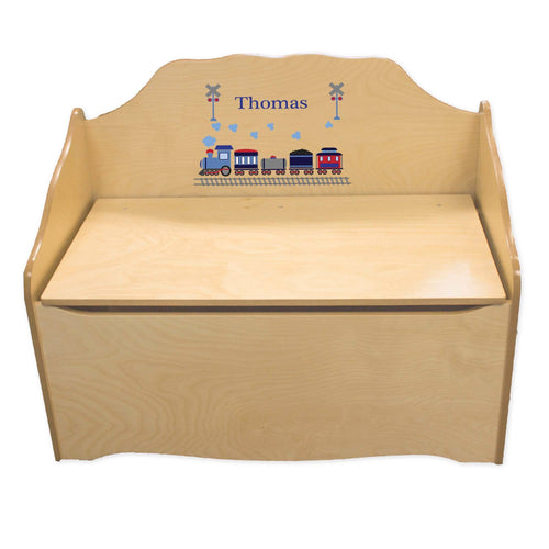 Personalized Train Natural Toy Chest