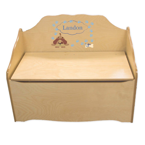 Personalized Blue Puppy Natural Toy Chest
