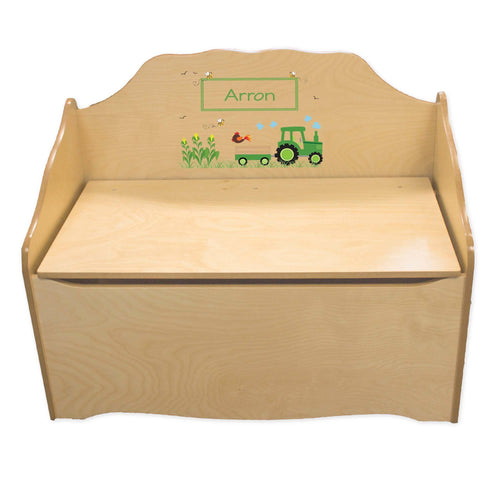 Personalized Green Tractor Natural Toy Chest