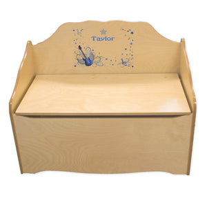 Personalized Blue Rock Star Natural Toy Chest