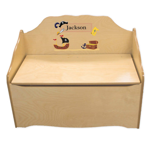 Personalized Pirate Natural Toy Chest