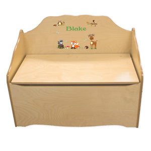 Personalized Green Forest Animal Natural Toy Chest