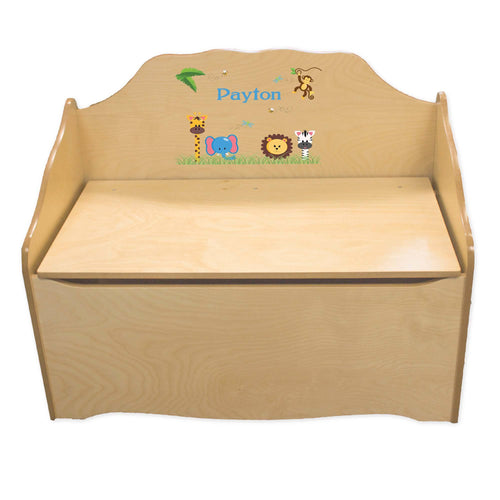 Personalized Jungle Animals Boy Natural Toy Chest